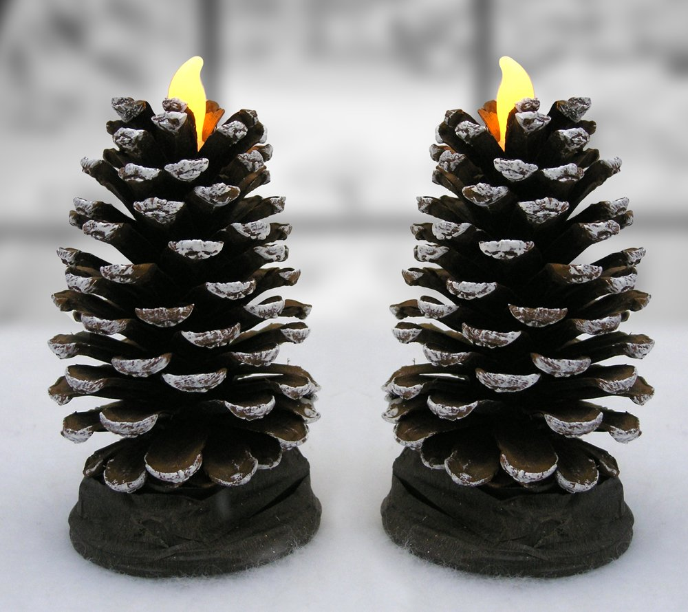 Pine Cone LED Candles - Set of 2 Real Pinecones - Rustic Lodge Decor - Woodland Christmas Decoration - Approx. 4''H