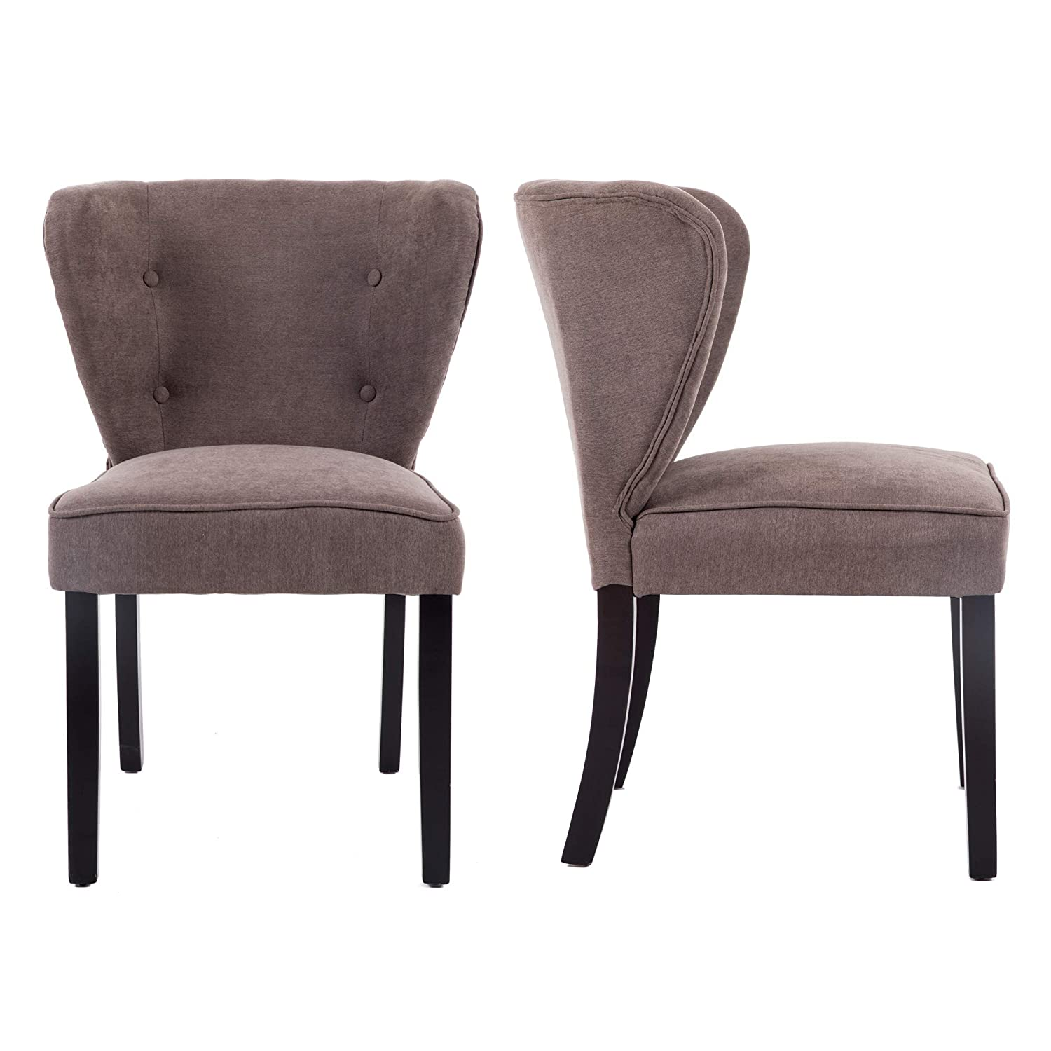 LSSBOUGHT Modern Elegant Button-Tufted Upholstered Dining Room Chairs with Solid Wood Legs, Set of 2 Chocolate