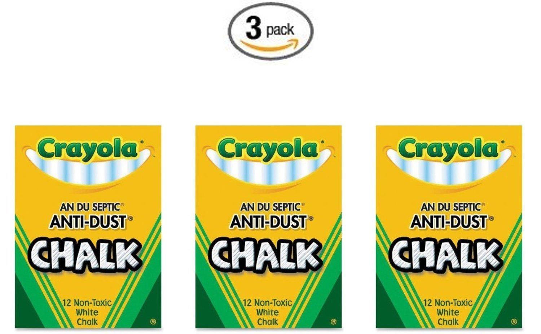 50-1402 3 Pack Crayola Nontoxic Anti-Dust Chalk White 12 Sticks//Box Binney /& Smith BHBM523W4718