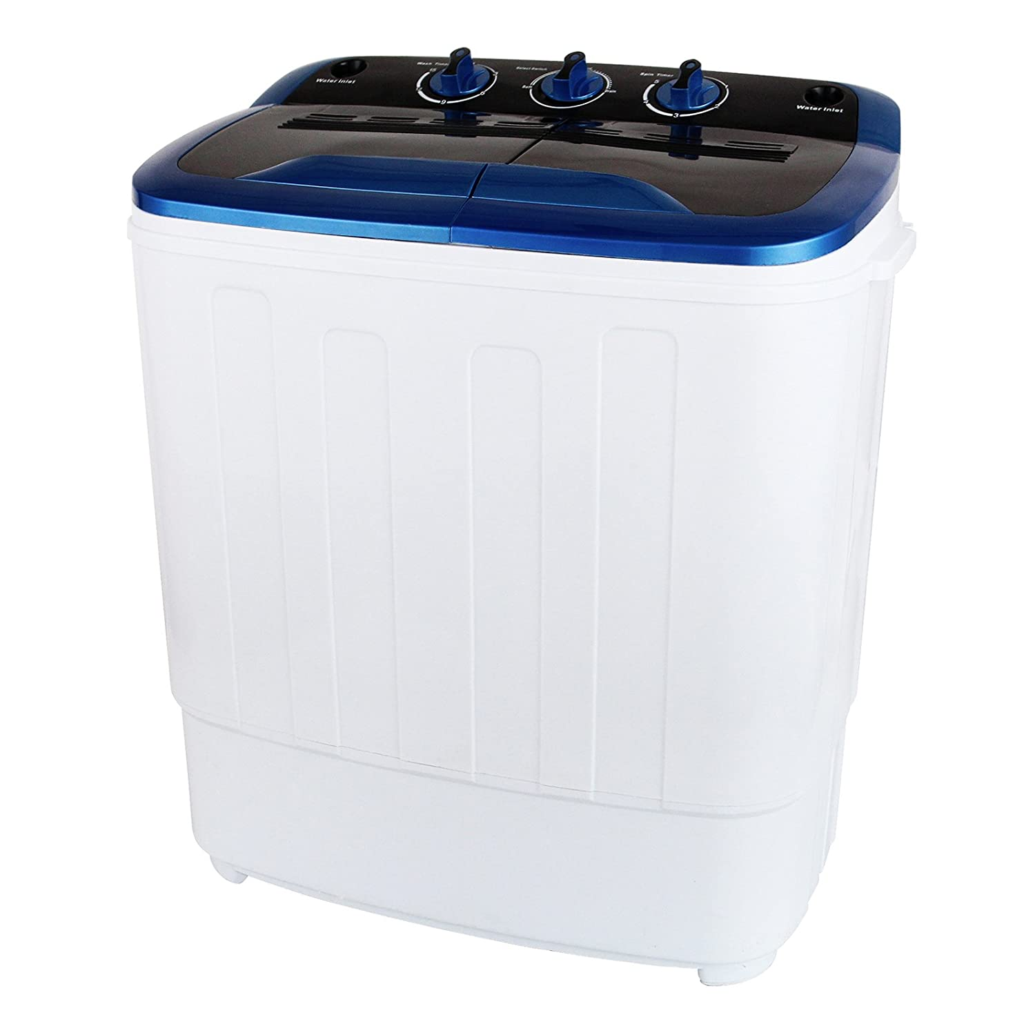 KUPPET 13Ibs Portable Mini Compact Twin Tub Washing Machine Washer Spin Dryer, Ideal for Dorms, Apartments, RVs, Camping etc, White & Blue KP1040600A