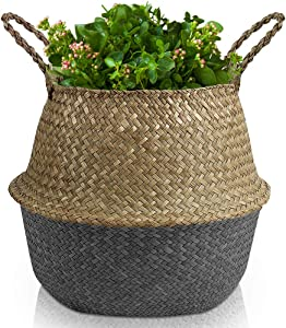 ECOZONNA Seagrass Basket - Black Hand Woven Belly Baskets for Small Plants - Large Round Fiddle Leaf Fig Tree Indoor Planter for Shelves - Boho Sea Grass Plant Pot Cover - Laundry Storage Bin