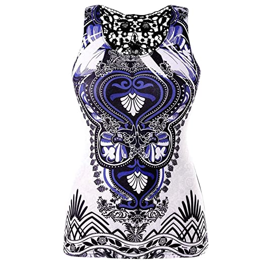 26c0a7e3 DIANA'S Tops Women Casual Plus Size Back Lace Panel Ethnic Print T ...