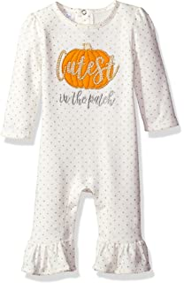 5cd129488cc Mud Pie Baby Girls  Halloween Pumpkin Long Sleeve Ruffle One Piece Playwear