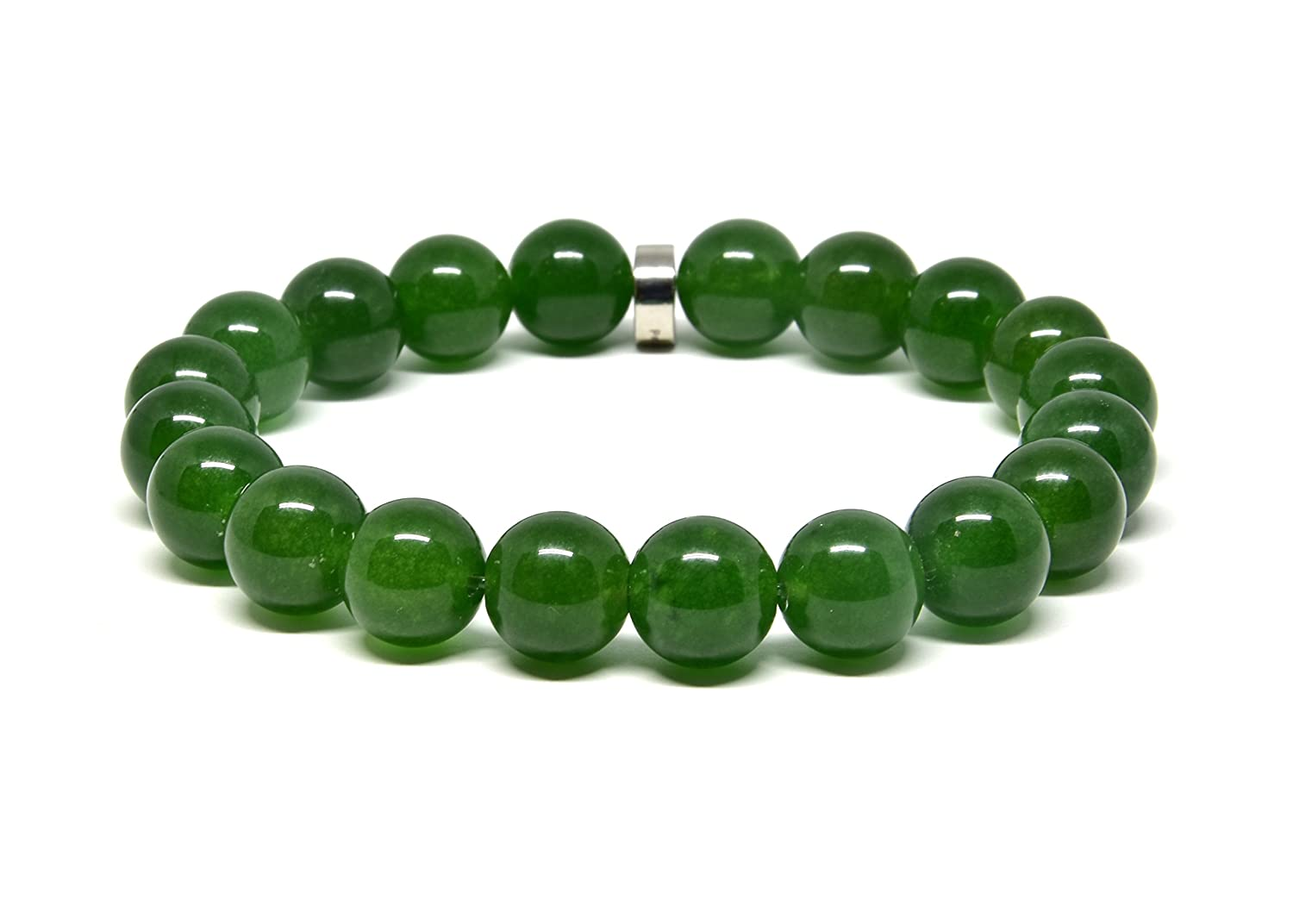 Genuine Dark Green Jade Stretch Bracelet