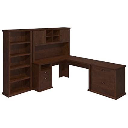 Bush Furniture Yorktown L Shaped Desk With Hutch, Lateral File Cabinet And  Bookcase