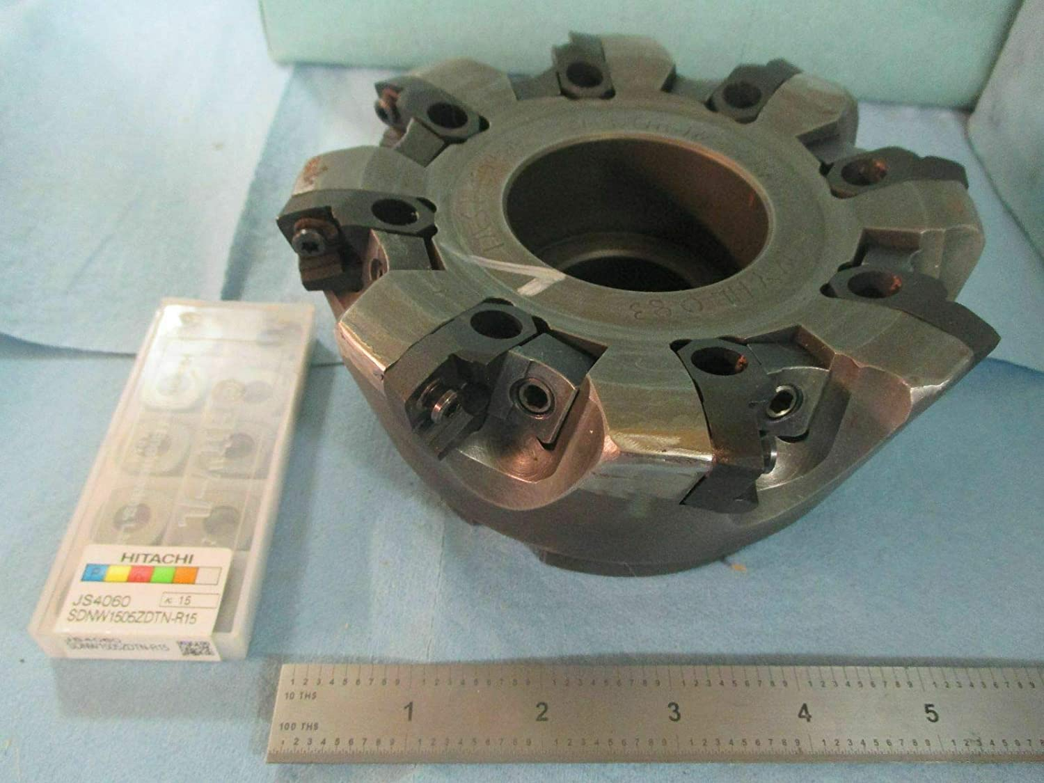HITACHI NYHL 083 6 DIA FACE MILL WITH 10PCS SDNW 1505 ZDTN R15 INSERTS TO FIT