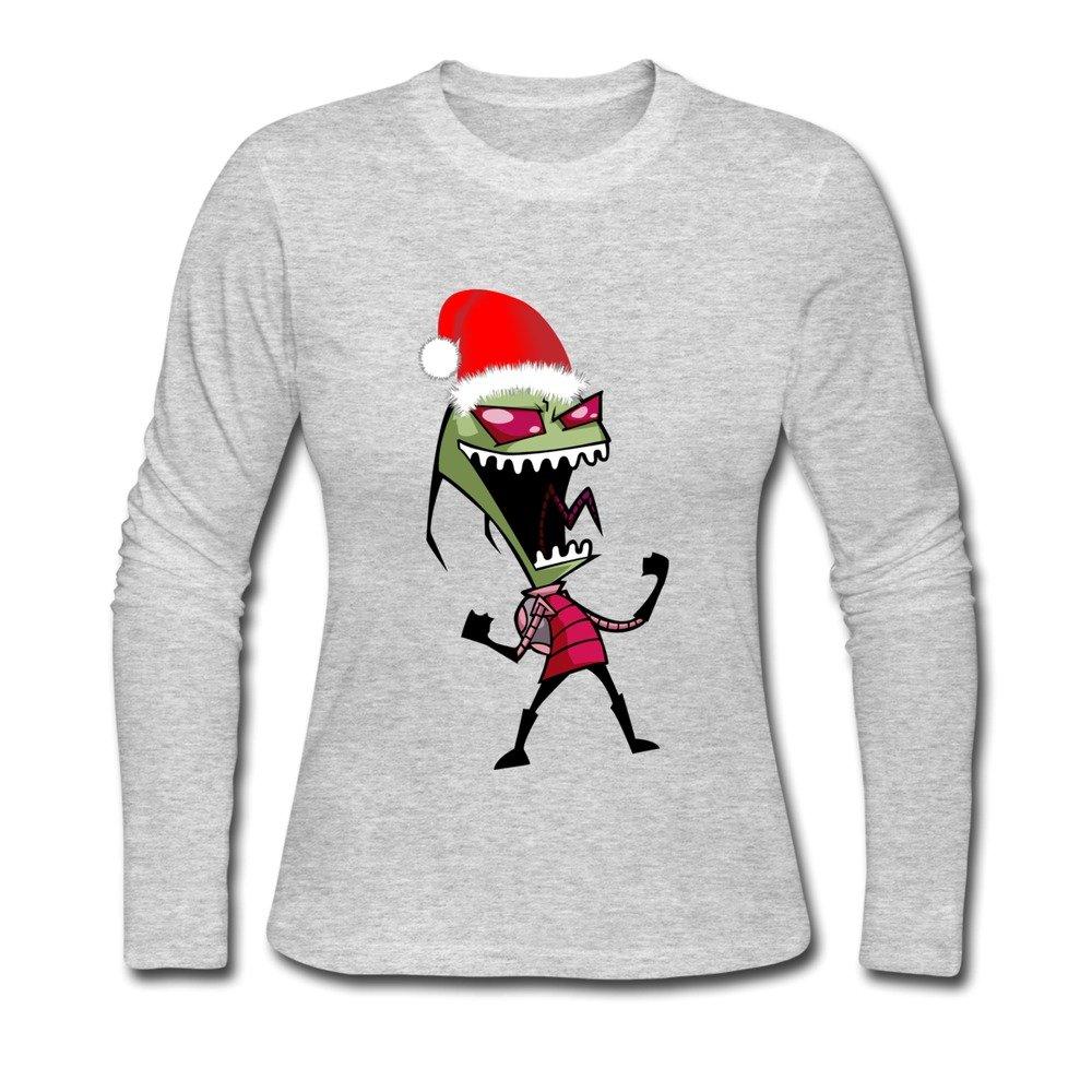 Rose Memery Women\'s Invader Zim Christmas T-shirt Gray Large: Amazon ...