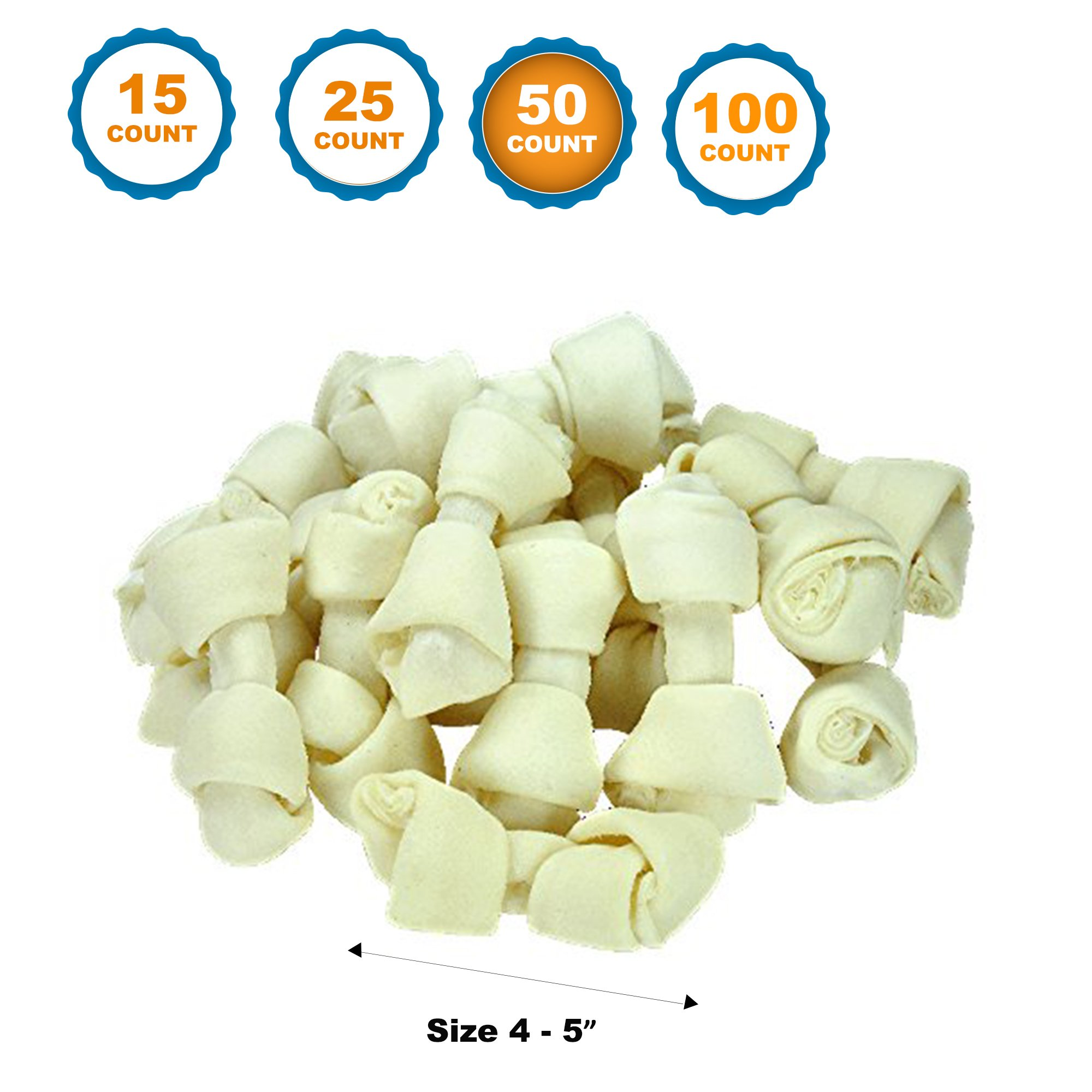 123 Treats 4-5 inch Rawhide Bones for Dogs | Premium Rawhide Bone Chews | Free Range Grass Fed Cattle with No Hormones, Additives or Chemicals (50) by 123 Treats