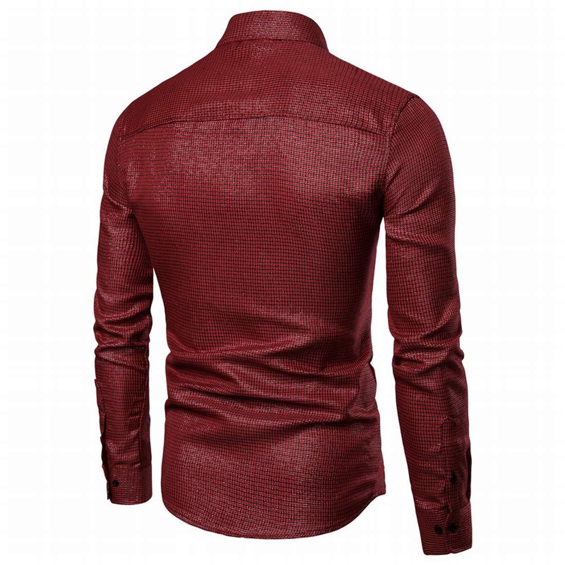 Nanquan Men Casual Shirt Slim-Fit Long-Sleeve Plaid Button Down Shirt