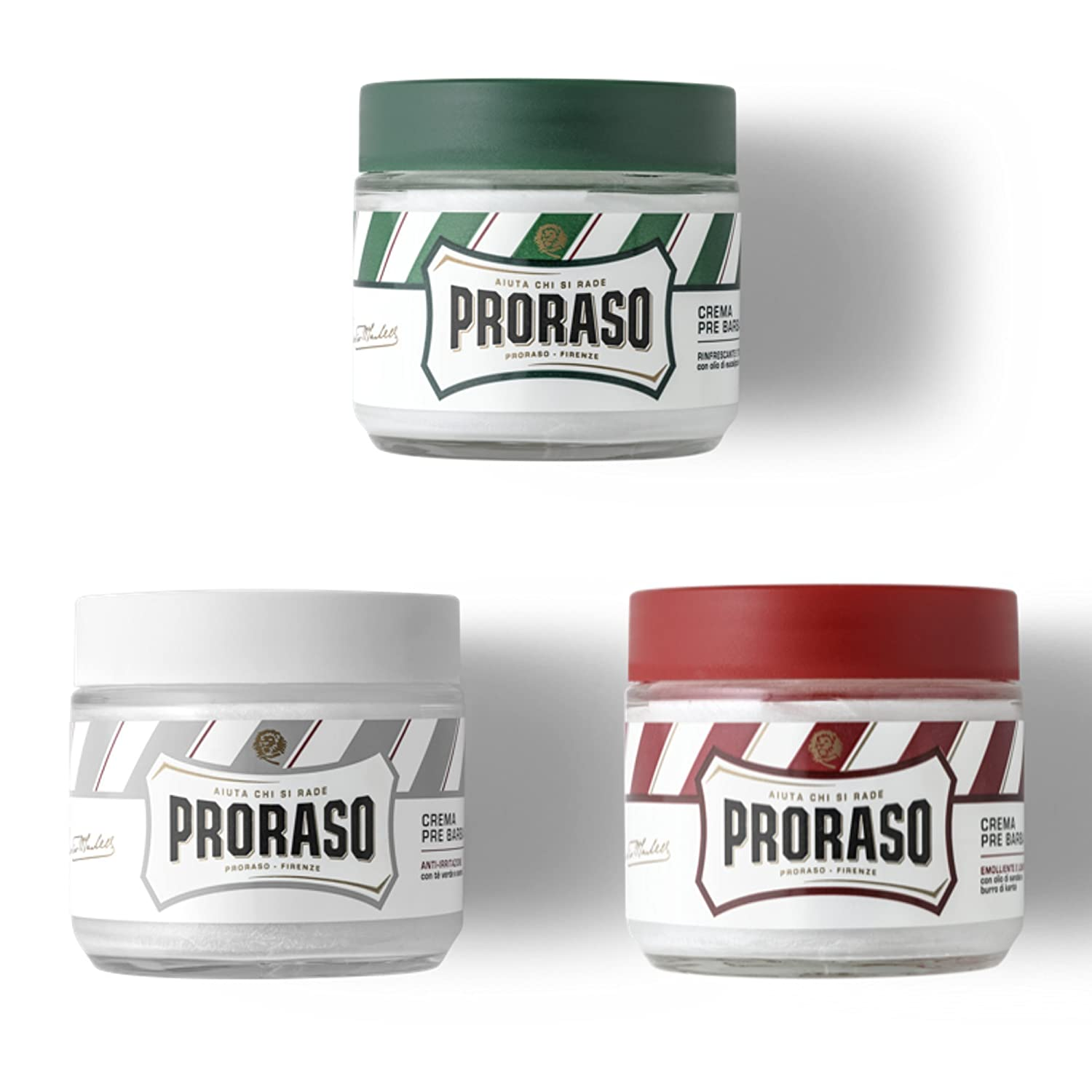 Triple Pack - Proraso Mixed Pre Shave Cream | Green, Red, White 100ml Jar in Box