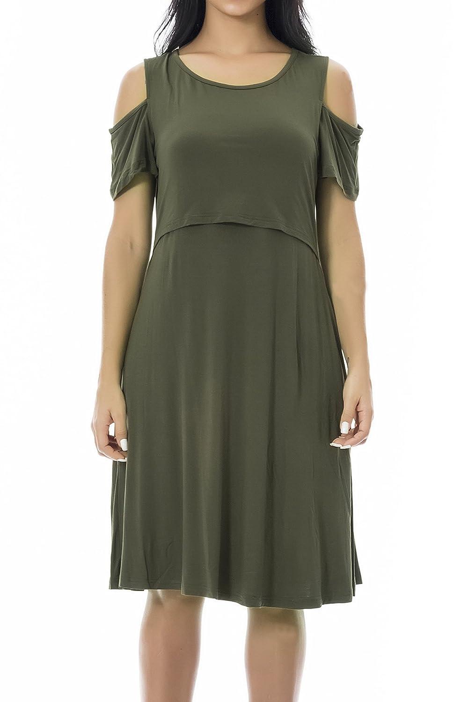 Smallshow Stillkleid Umstandsmode Tshirt Kleid Umstandskleid Kurzarm 2in1 Sommerkleid Damen Umstands Kalte Schultern