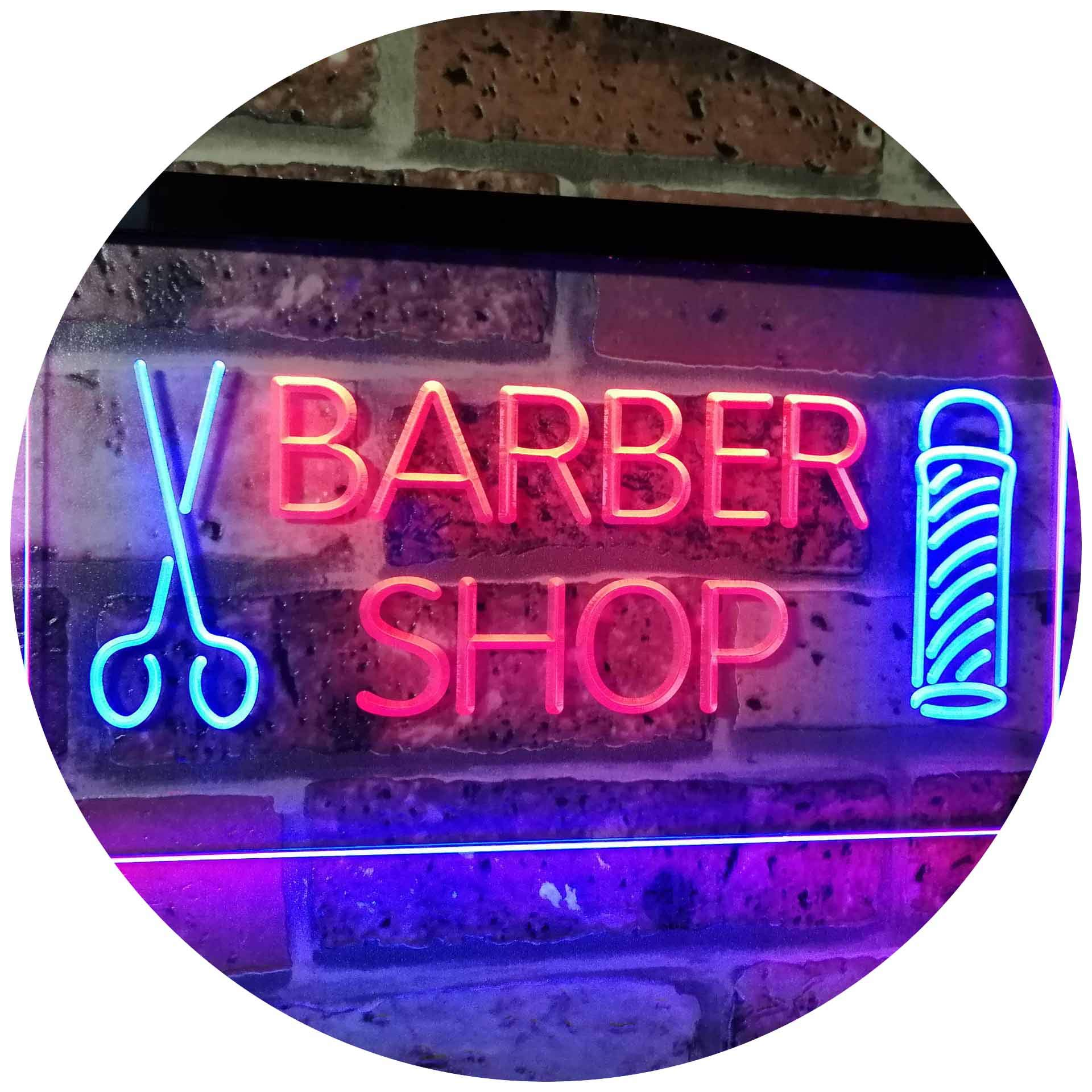 AdvpPro 2C Barber Shop Hair Cut Scissor Pole Display Dual Color LED Neon Sign Blue & Red 16'' x 12'' st6s43-i2044-br
