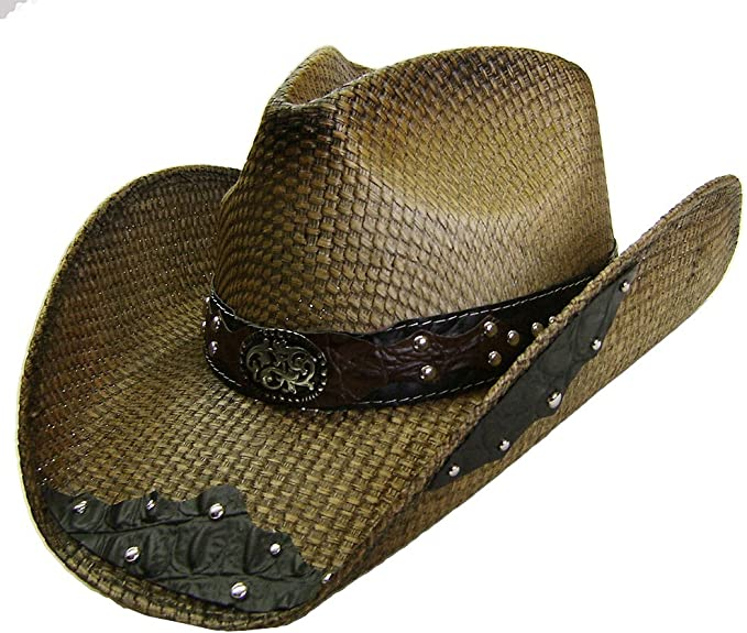 Modestone Jute Cowboy Hat Bull Head Leather-Like Hatband Beige