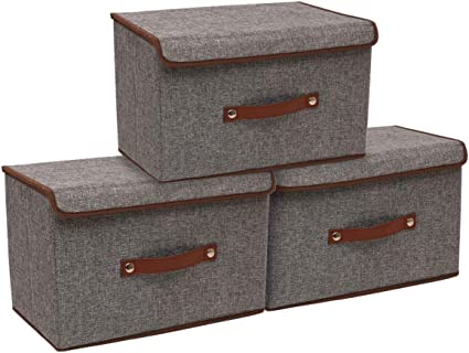 Toys CASATOCA Foldable Storage Box with Lid Blanket in Your Office Set of 3 for Clothes Bedroom Grey Storage Organiser with Leather Handle Storage Bins Set Books Closet and Living Room