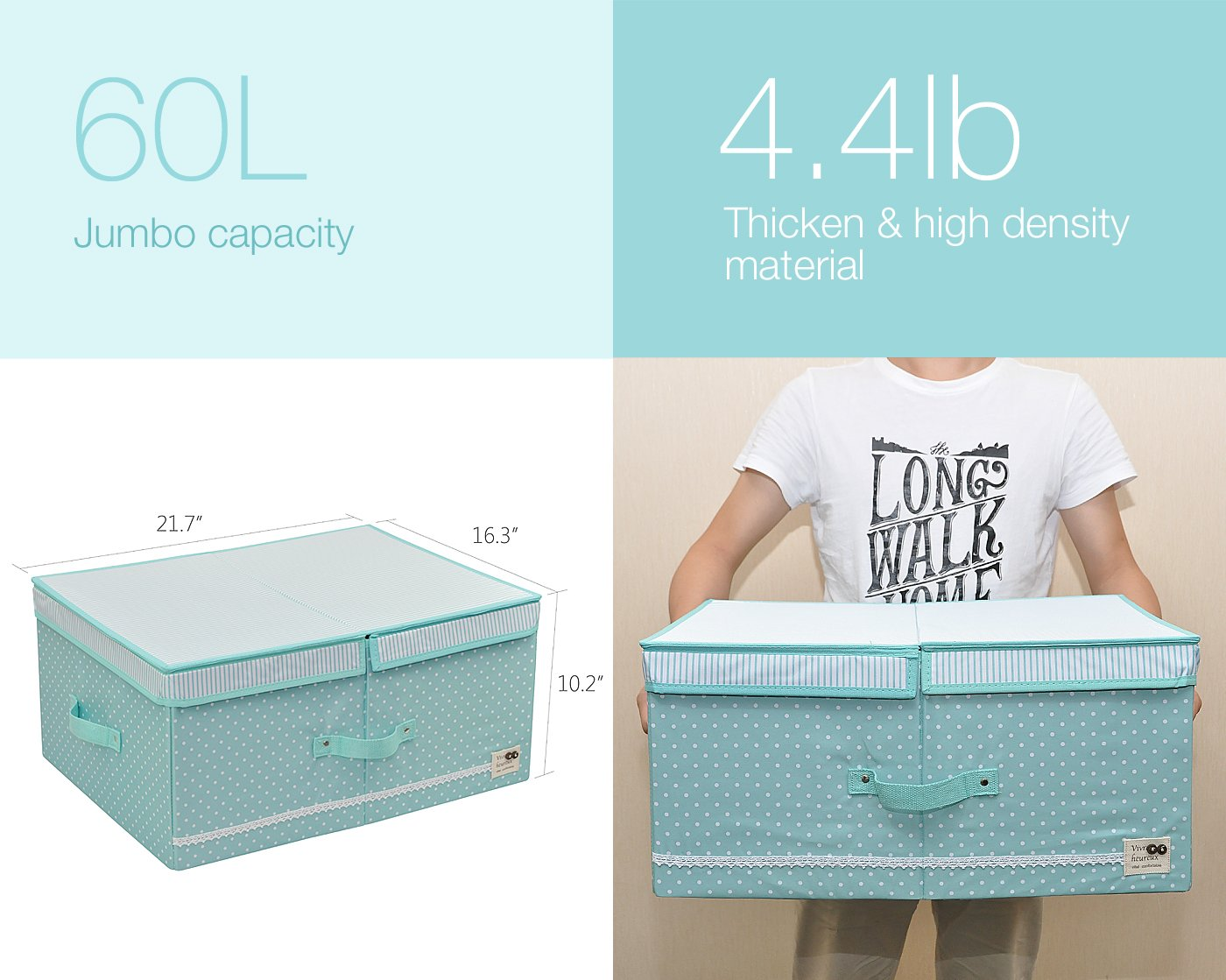 Handles and Cover for Under Bed Storage 60l Mint Green Collapsible Clothes Organizer Basket Bins with Over-sized Space Removable Dividers
