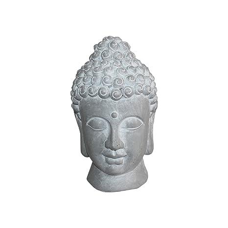 HOMEA 5dej1315bc Estatua Dibujo Cabeza de Buda Magnesia Blanco 20 x 20 x 32 cm