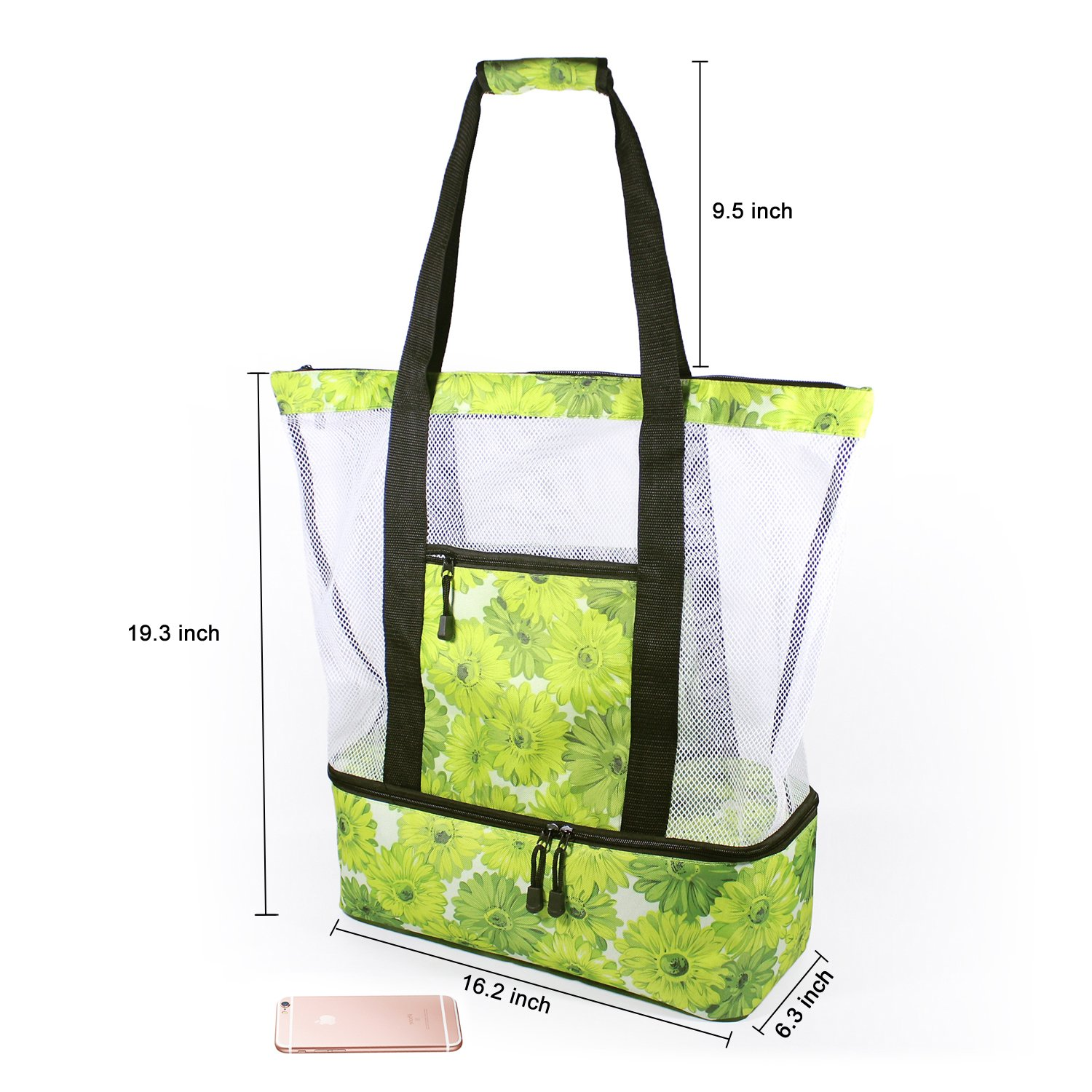 Rotanet Mesh Beach Tote Bag-Zipper Top with Insulated Picnic Cooler Extra Large (Green Flower) by ROTANET (Image #7)