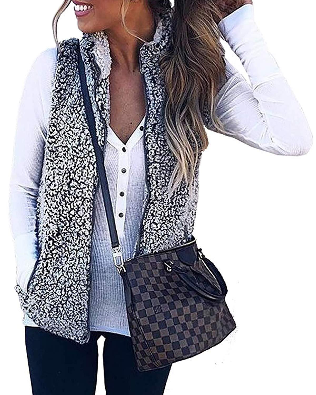 ZESICA Women's Sleeveless Zip Up Fuzzy Fleece Lightweight Fall Warm Zipper Vest with Pockets Dark Grey by ZESICA