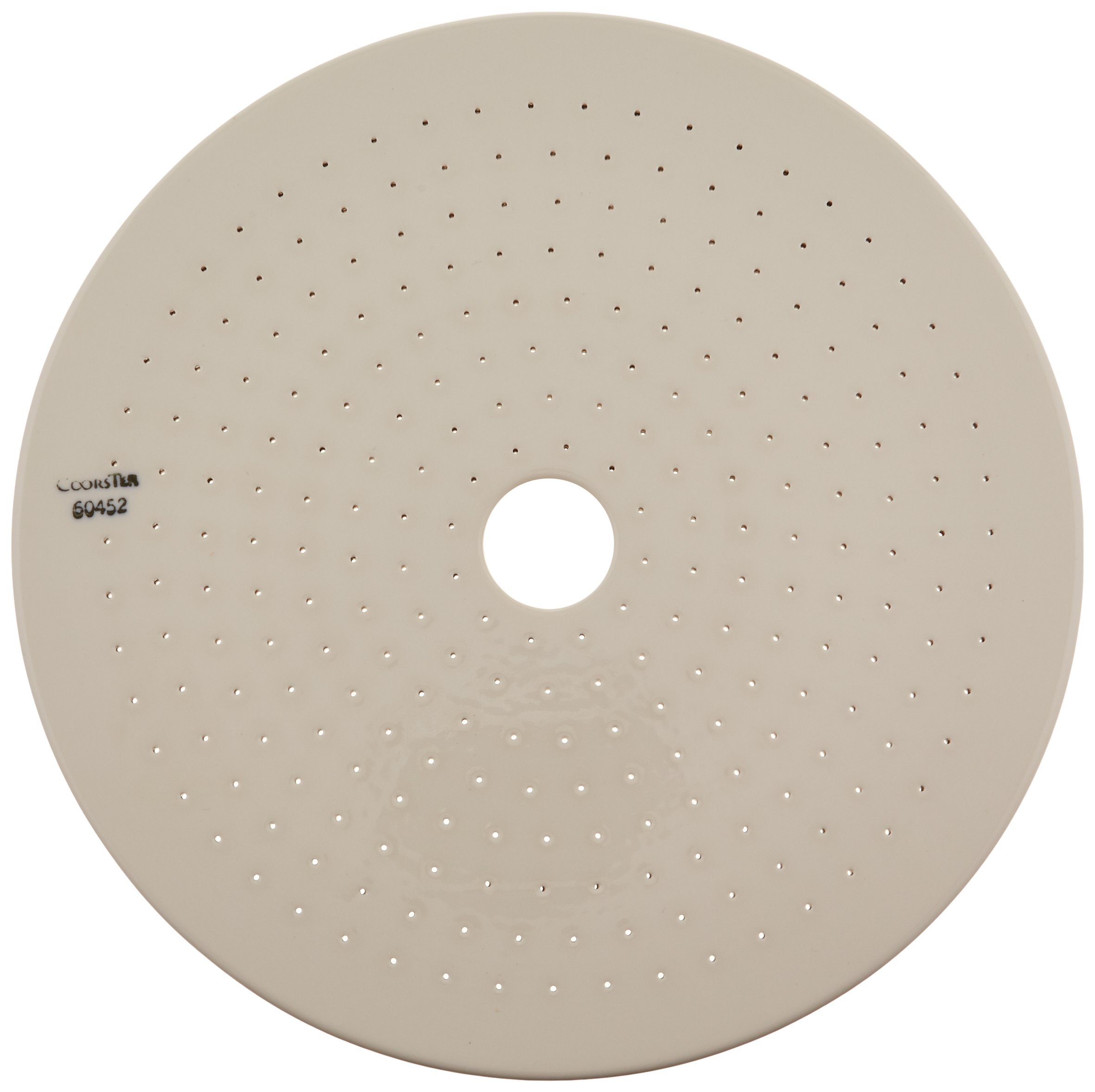 CoorsTek 60452 Porcelain Ceramic Desiccator Plate with Large Hole in Center, Numerous 1mm Perforations, 190mm OD