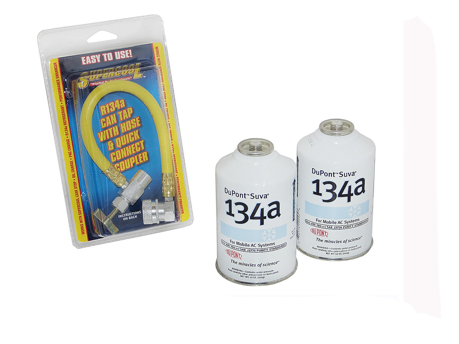 2 DuPont Suva R-134a Can Refrigerant & R-134a Recharging Hose Kit