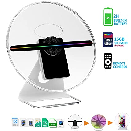 【New 256 PCS LED-Mounted & Portable】3D Hologram Fan Digital Holographic  Display Photo/512P HD Video at Home,Office,Entertainment and Shops,Remote