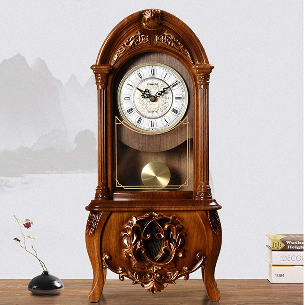 HONGNA European Retro Resin Clocks and Creative Home Clocks Living Room Large Vintage Pendulum Clock American Desktop Ornaments Desktop Clock 10 Inches (Color : Brown-Report time) by HONGNA (Image #7)