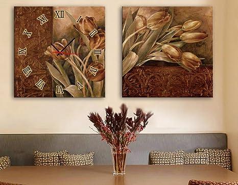 Orologi Da Parete In Tela : Soggiorno orologio da parete con due pittura decorativa orologi