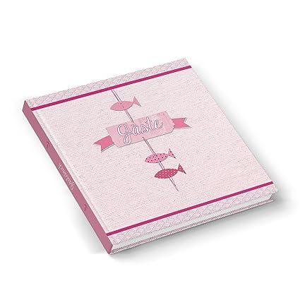 Rosa Rot Pink Farbenes Gästebuch Fische Maritim Fischchen Rose 21 X 21 Cm Hochzeitsgästebuch Kommunion Taufe Mädchen Hochzeit Firmung Hochwertig