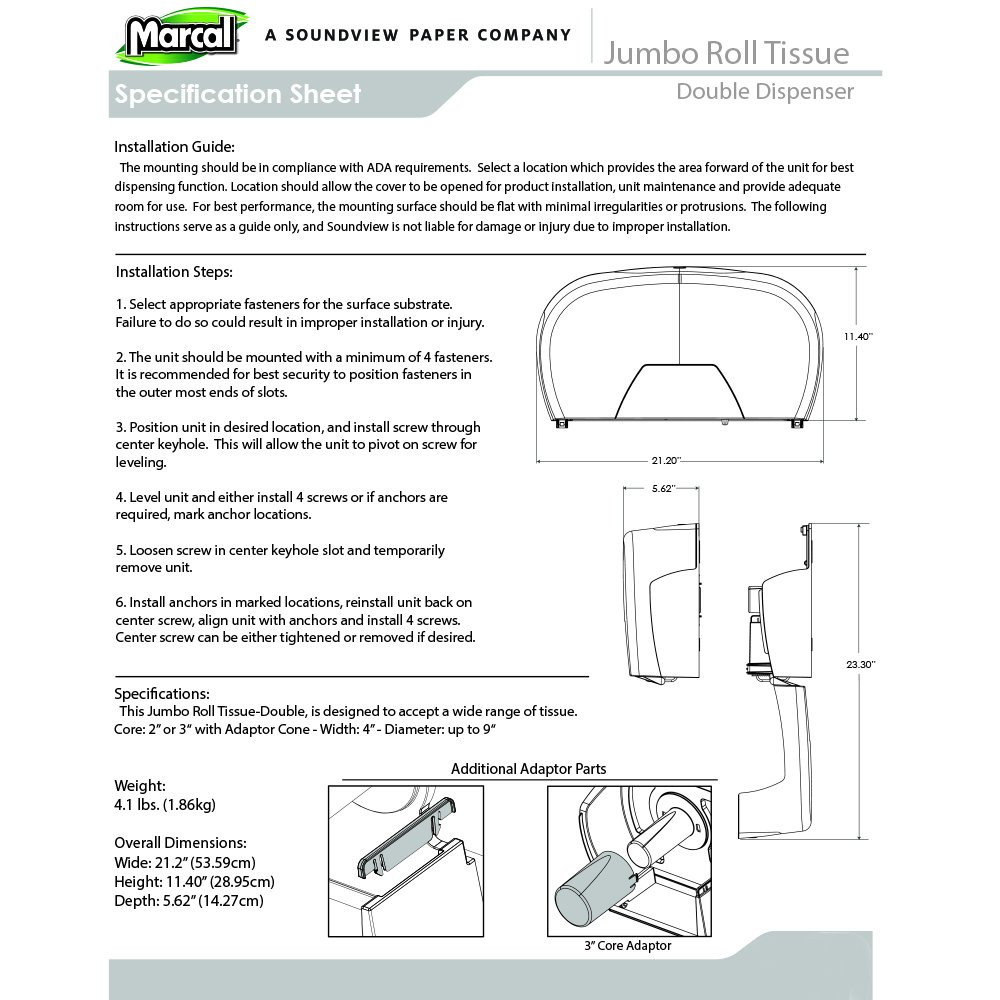 Works with 2 or 3 Bath Tissue Cores #07112 Marcal Pro Universal Jumbo Roll//Double Roll Toilet Paper Dispenser