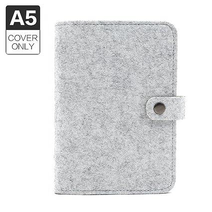 Funda de diario, tamaño A5, con 6 anillas, de fieltro, sin páginas de recambio., color A5 Grey