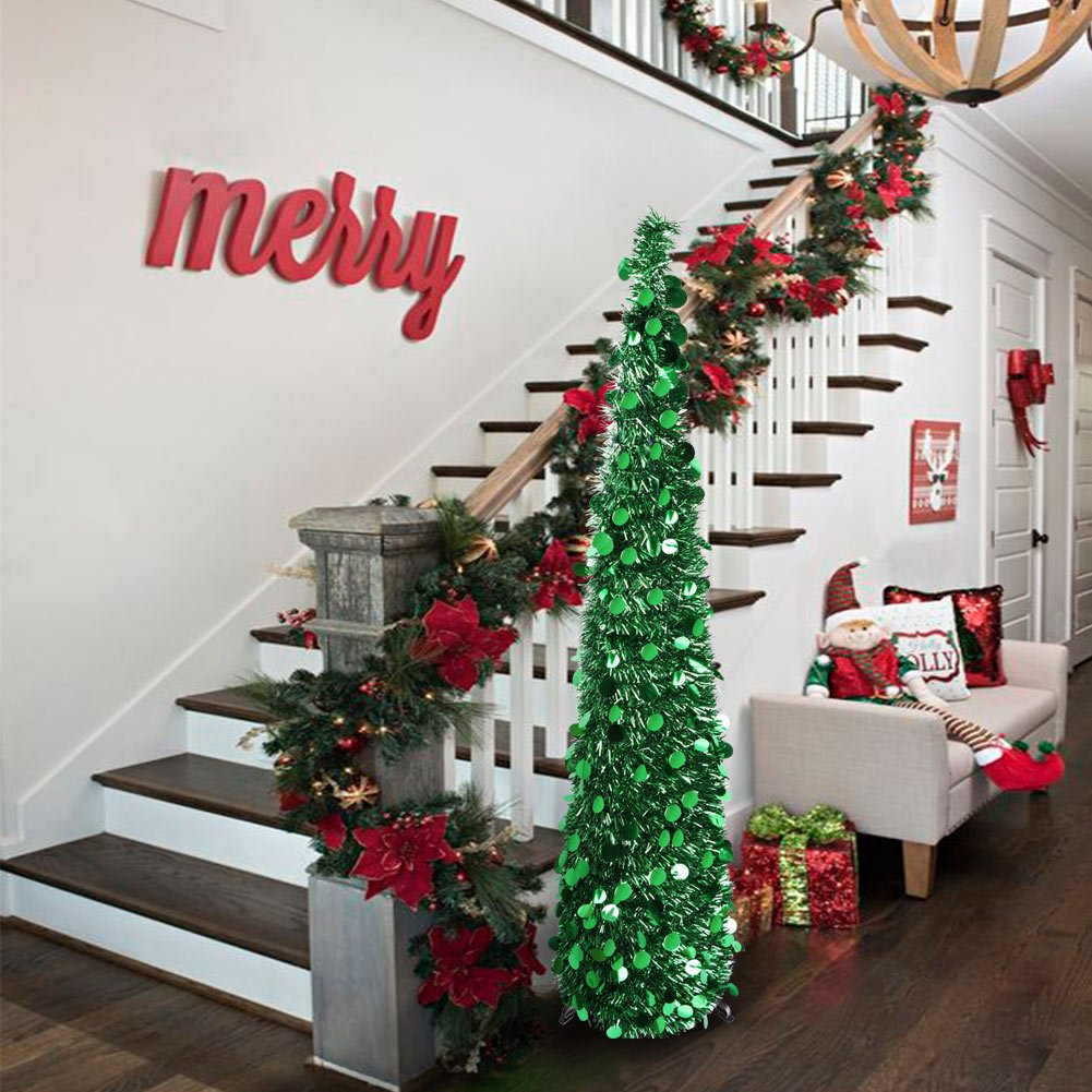 Amazon.com: Aytai 5ft Collapsible Pop Up Christmas Tree Green Tinsel ...