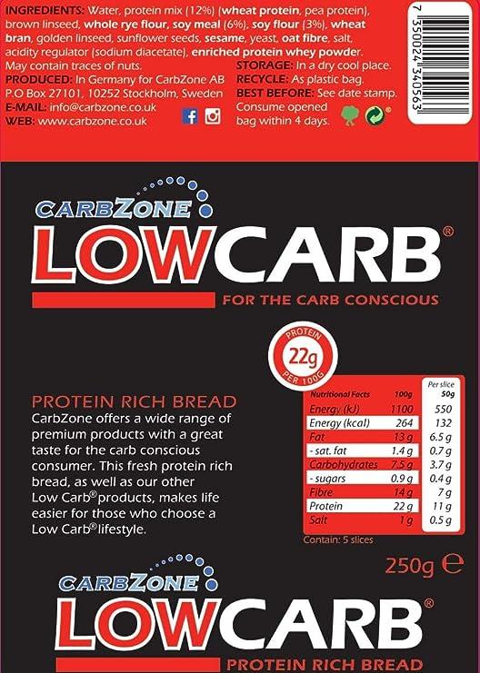Pan con alto contenido en proteínas - bajo en carbohidratos - CarbZone (Paquete de 3)