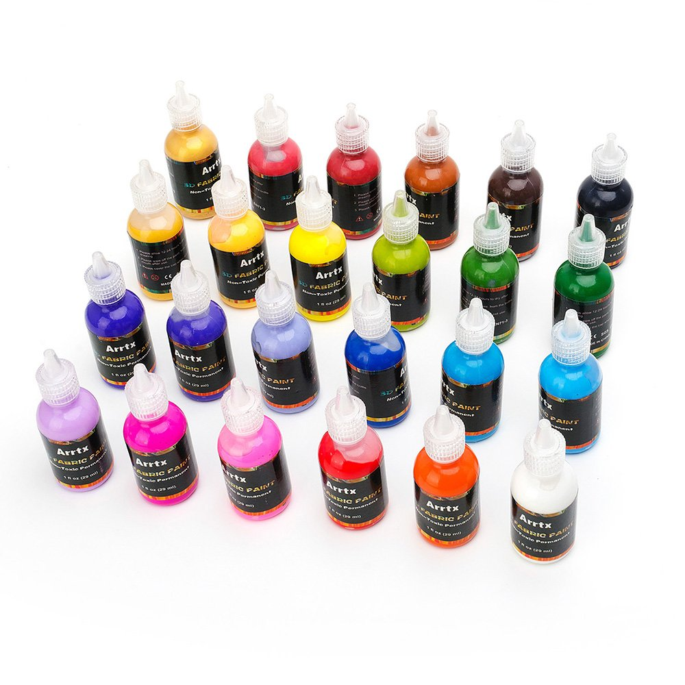 Arrtx-24 Assorted Colors 3D Fabric Paint for Fabric, Canvas, Wood, Ceramic, Glass with a Fine-point Tip for Precise Application-Non Toxic Permanent Value Pack Lightwish