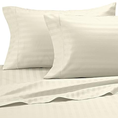 Damask Stripe 500-Thread-Count Sheet Set - Ivory