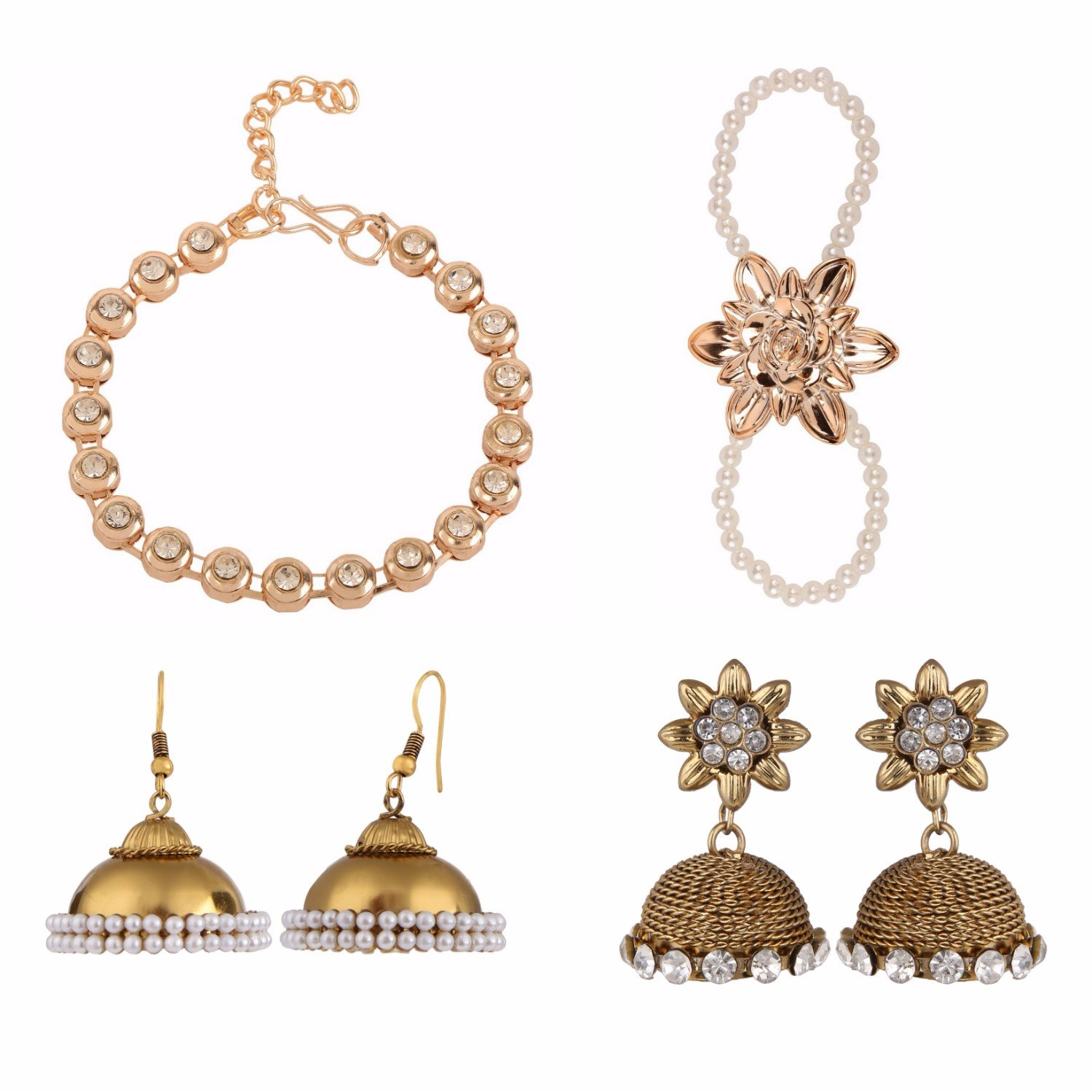 Indian Jewellery Bollywood Combo of Ethnic Designer Party Wear Bracelets and Earrings for Girls and Women