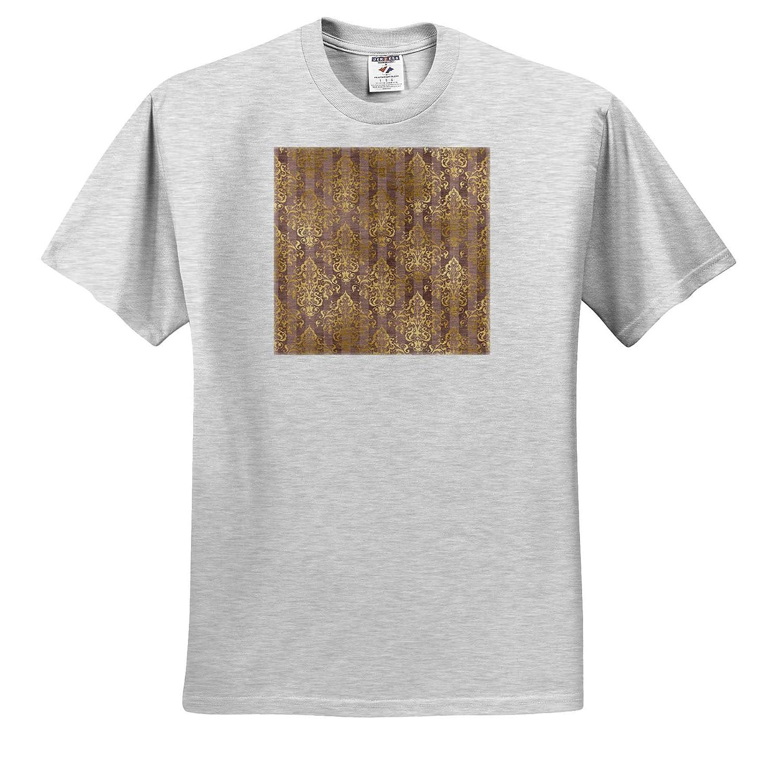 Patterns Adult T-Shirt XL 3dRose Anne Marie Baugh Elegant Image of Gold Damask Over Purple Stripes Pattern ts/_309743