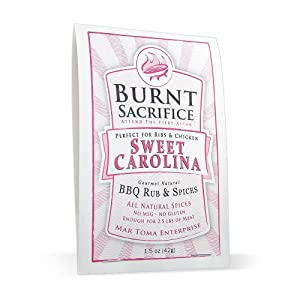 Burnt Sacrifice Sweet Carolina Style Gourmet BBQ Spice Dry Rub seasonings | 1.5 OZ Packet - Case of 6 | Barbecue Pork Ribs Loin Chops Chicken Turkey Wings