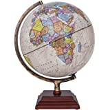 """Waypoint Geographic Atlantic Illuminated 12"""" Globe with Stand - Over 4, 000 Up-To-Date points of Interest - Wood 3-Step Style Stand & Politically Styled World Globe for Home, Office & Classroom"""