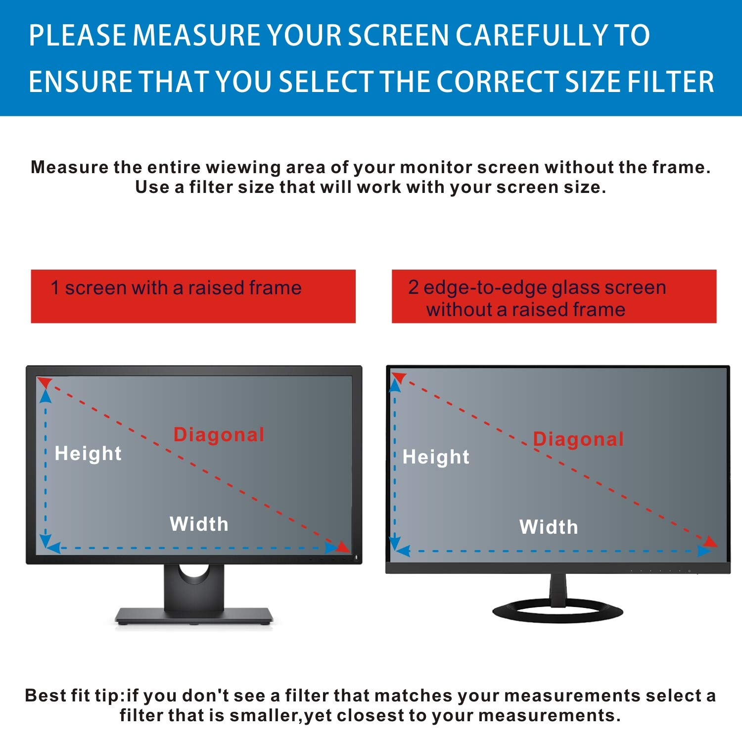 Accgonon Computer Privacy Screen Filters for 25-inch Widescreen(16:9) Monitor Privacy Screen Protector,Anti-Glare Anti-Spy Anti-Blue Scratch and UV Protection,Easy Install by ACCGONON (Image #5)