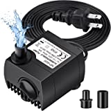 Homasy 80 GPH (300L/H, 4W) Submersible Water Pump, Ultra Quiet For Pond, Aquarium, Fish Tank Fountain, Powerful Water Pump wi