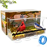 Naturing Zero Window Bird Feeder with Strong Suction Cups and Nano Tape, Large Outside Birdhouse for Window and Most Walls, Removable Seed Tray with Drainage Holes, Outdoor Bird Feeder for Wild Birds