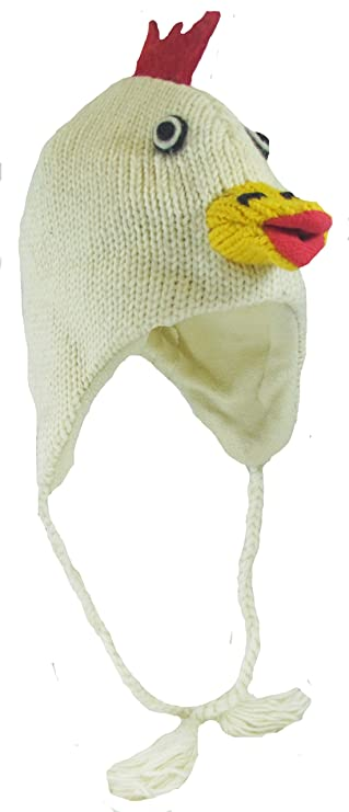 553ec9e0 100% Wool Hand Crocheted Chicken Animal Face Character with Ear Flaps Super  Warm Fleece Lining