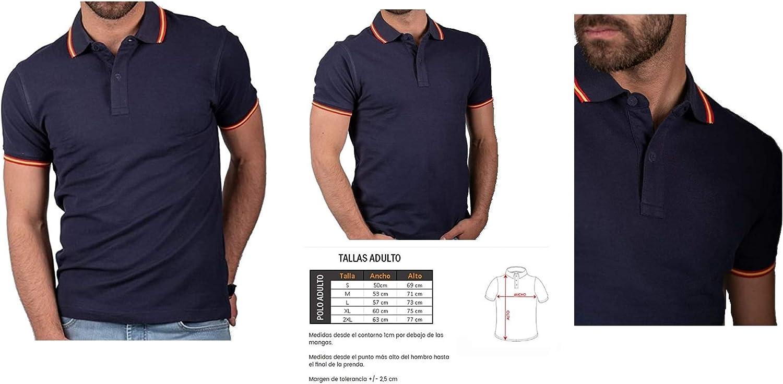DH Camiseta Polo con Bandera de España en Cuello y puños ...