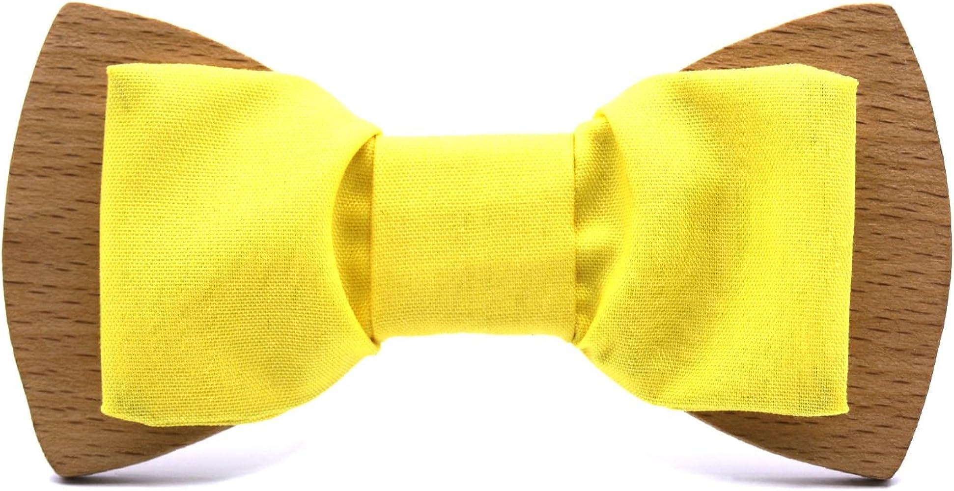 Territorial Pajarita de madera Classic Pale Yellow. Colección de moda hombre: Línea boda y eventos. Diseño híbrido madera-tela amarilla. Confeccionada en España Regalo original (Claro (beige)): Amazon.es: Ropa y accesorios