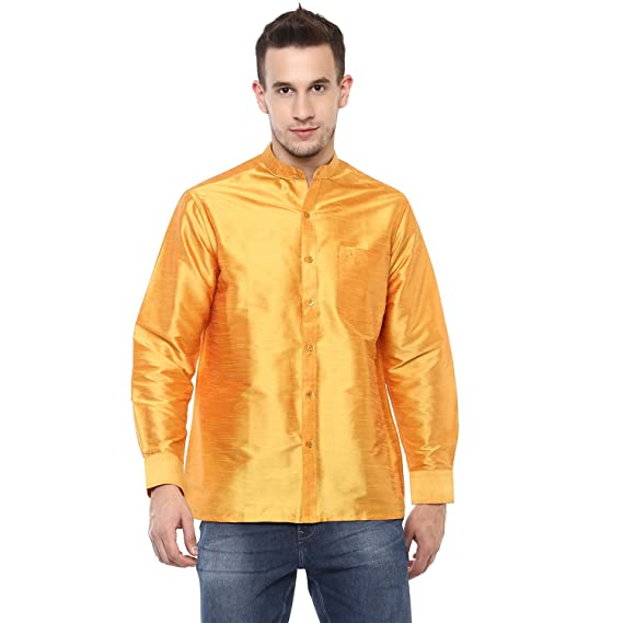 3fde5f4d50147 Khoday Williams Men s Gold Poly Silk Solid Regular Fit Shirt(5000063-GOLD-38