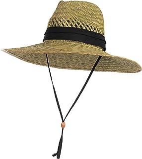 4db223e01 Amazon.com: SUN & FUN Men's Straw Outback Lifeguard Sun Hat with ...