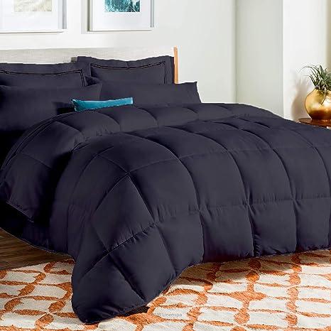 1 Piece Purple Solid Comforter Cotton 1000 TC Microfiber Fill Heavy Weight