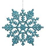 Vickerman Plastic Glitter Snowflake, 4-Inch, Turquoise, 24 Per Box