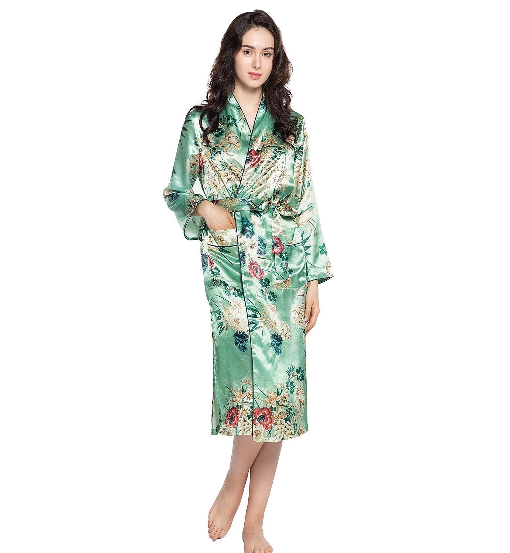 Surenow Kimono Lungo da Donna in Raso Serico Profondo V Collare Stampa Fiori Vestaglia Accappatoio Spugna