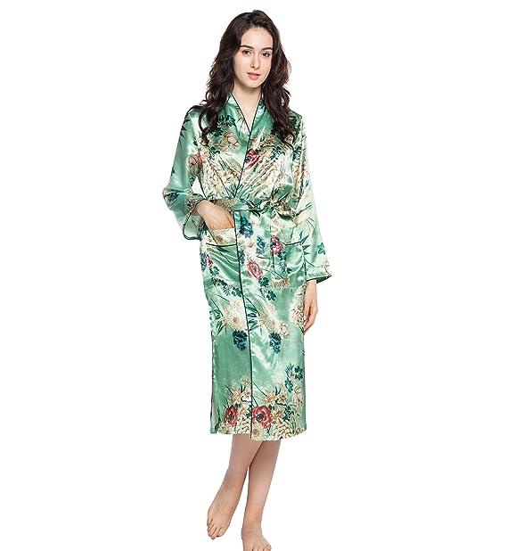 Surenow Albornoz Kimono Camisón Pijama Robe Bata de Dormir de Seda de Flores para Mujer: Amazon.es: Ropa y accesorios